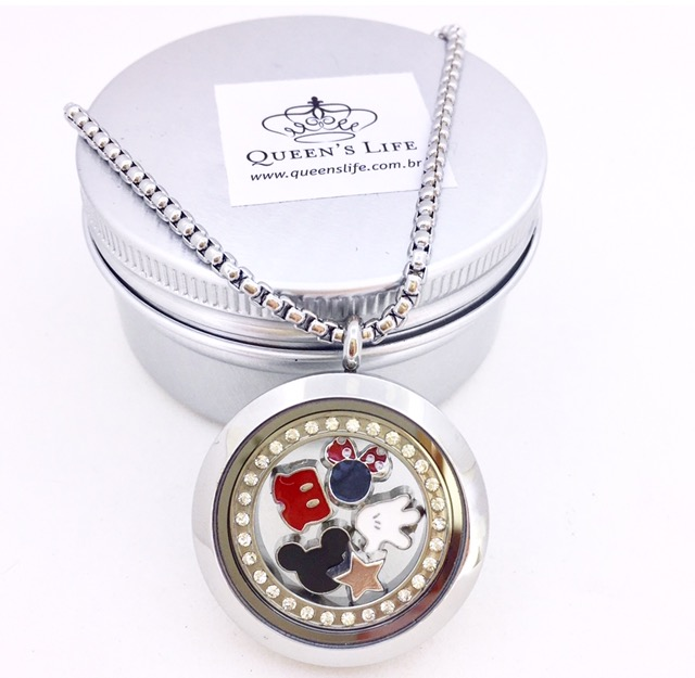 Conjunto de Cápsula 30 mm, Mini Charmes, Corrente , Anel de cristais e Caixa de Presente Motivo Disney