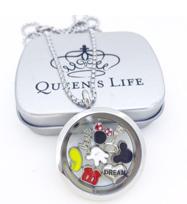 Conjunto de Cápsula 30 mm, Mini Charmes, Corrente e Caixa de Presente Motivo Disney