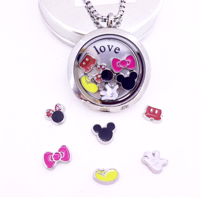 Conjunto de Cápsula 30 mm, Mini Charmes, Corrente , Placa ,MICKEY/MINNIE 2.