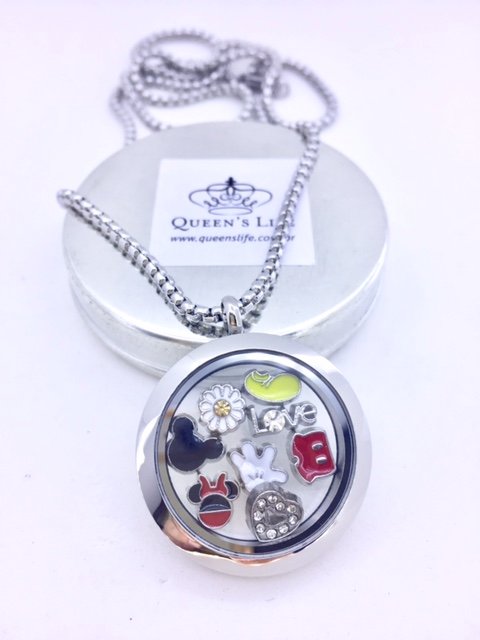 Conjunto de Cápsula 35 mm, Mini Charmes, Corrente e Caixa de Presente Disney