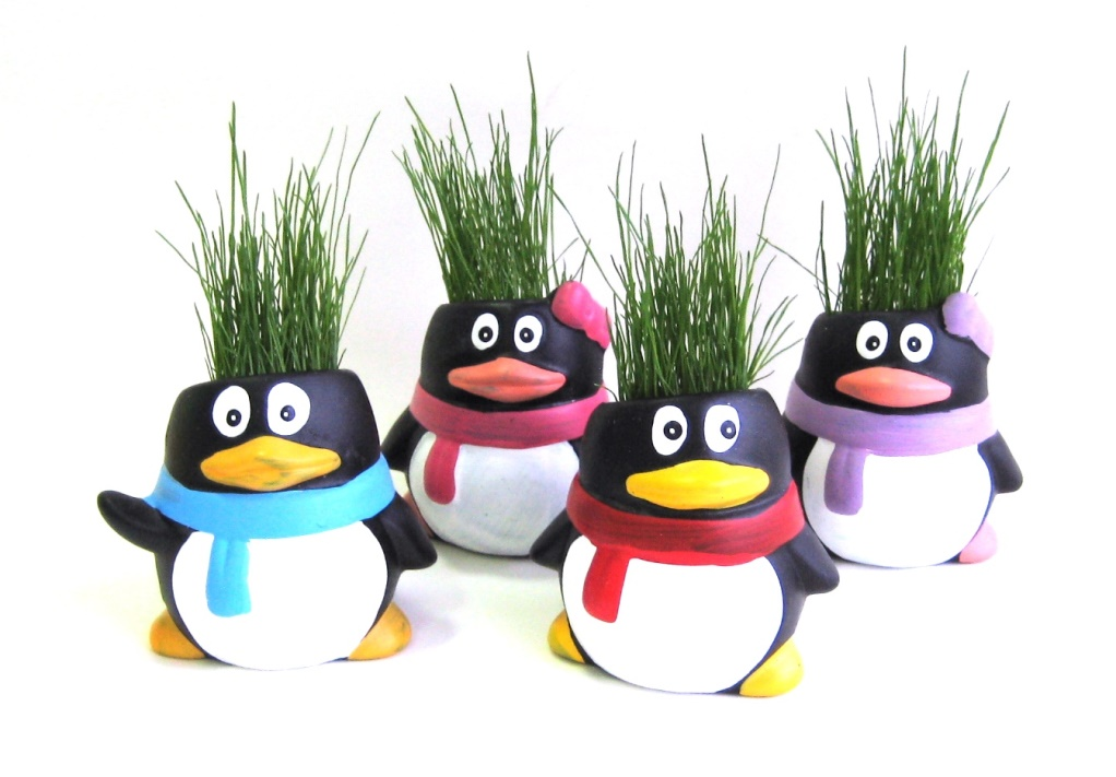Bolinha de Neve - Vaso decorativo que cresce grama - Pingulitos