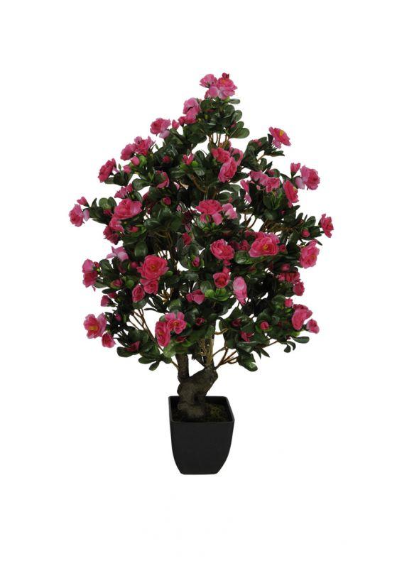 Azalea Rosa artificial com pote 76 cm
