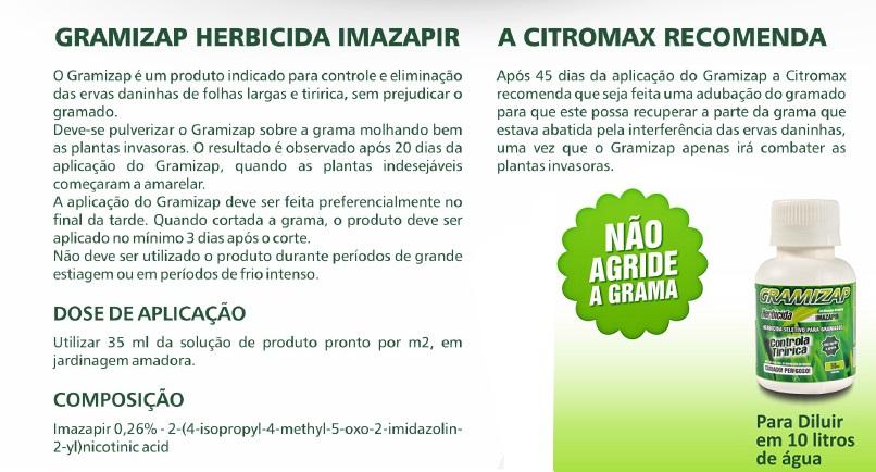 Gramizap Herbicida Imazapir - Mata tiririca - 50 ml concentrado