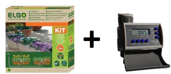 Kit de micro Irrigação com 24 gotejadores - CDK24 Elgo + Timer Eletrônico LCD 8 Programas Solenóide NEA2