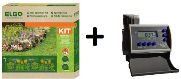 Kit Micro Irrigação com 4 microaspersores 60 m² - 20L/h - MSS Elgo + Timer Eletrônico LCD 8 Programas Solenóide NEA2