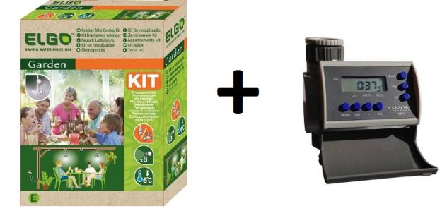 Kit para resfriamento de ambientes/ aspersão suspensa - nebulização CMK Elgo + Timer Eletrônico LCD 8 Programas Solenóide NEA2