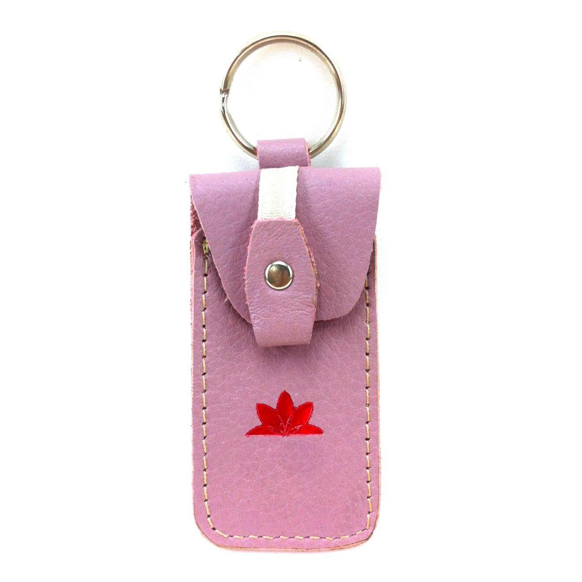 Porta pen drive de couro ecológico rosa Seminate