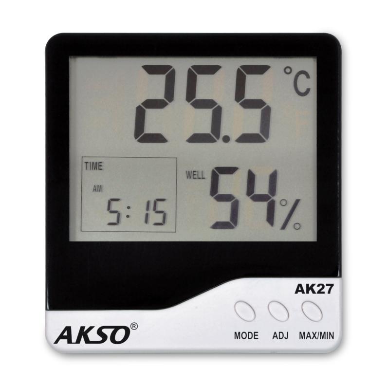Termo-Higrômetro Digital com Relógio e Alarme AK27 - AKSO