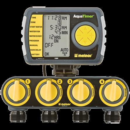 Timer Melnor 4 Zonas 3280-RDV LCD Solenóide 4H/7D 1/240min Elgo