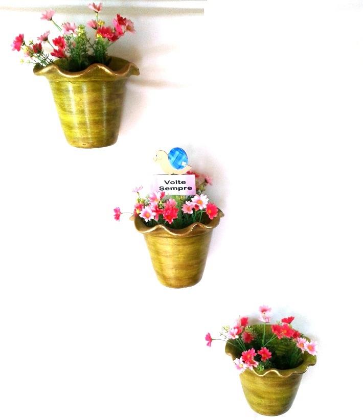 Trio de vasos de parede decorativos mostarda com flores