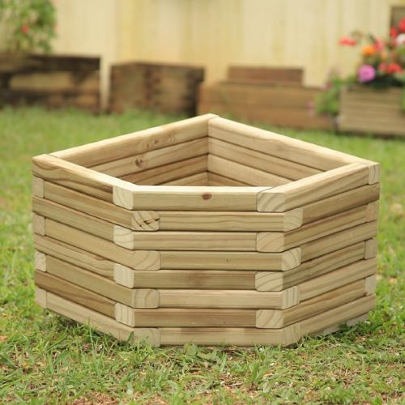 Vaso de canto de madeira tratada 40x40x40cm
