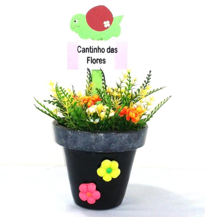 Vaso decorativo preto com flores