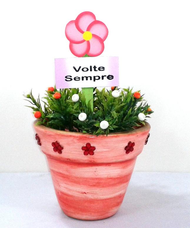 Vaso decorativo salmão com flores