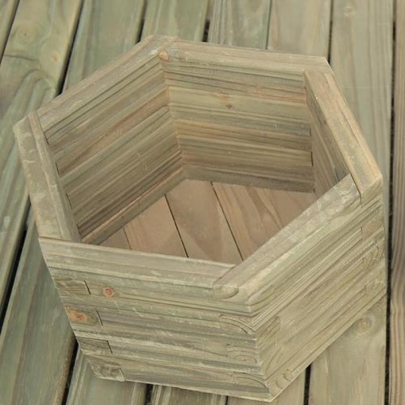 Vaso Hexagonal de madeira tratada 15x25cm