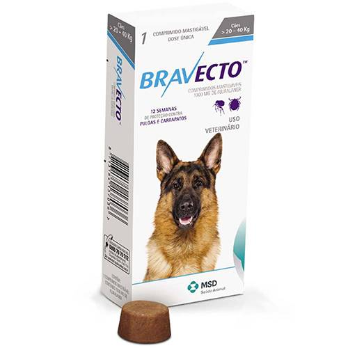 BRAVECTO 1000 mg - CÃES 20 A 40 kg  - Farmácia do Cavalo