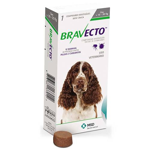BRAVECTO 500 mg - CÃES 10 A 20 kg  - Farmácia do Cavalo