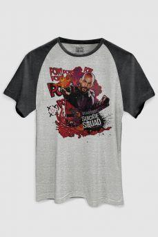 Camiseta Raglan Premium Masculina Esquadrão Suicida Deadshot Pow