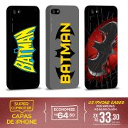 Kit Com 3 Capas de iPhone 5/5S Batman - Logos