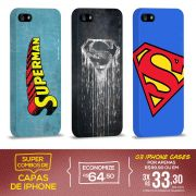 Kit Com 3 Capas de iPhone 5/5S Superman - Logos
