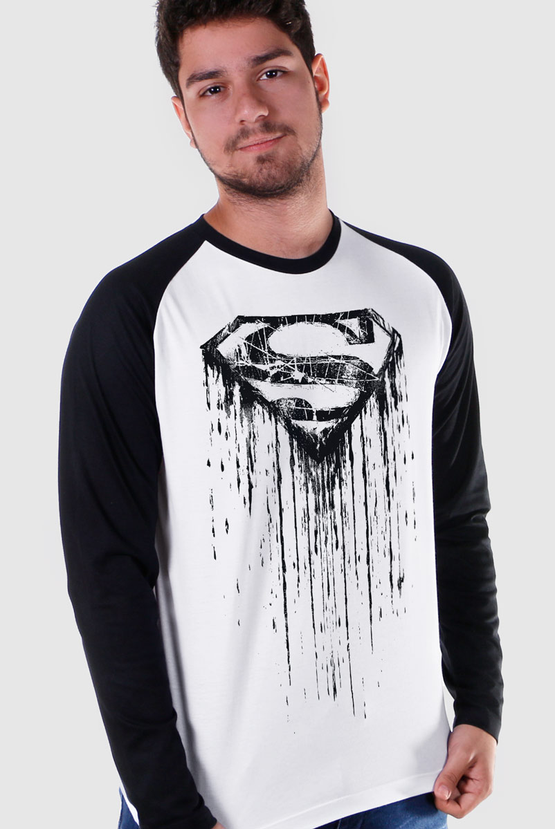 Camiseta Manga Longa Raglan Masculina Superman Steel Melting