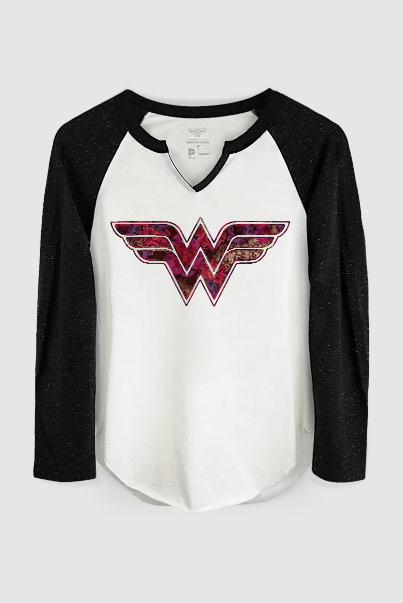 Camiseta Manga Longa Feminina Wonder Woman Logo Fashion