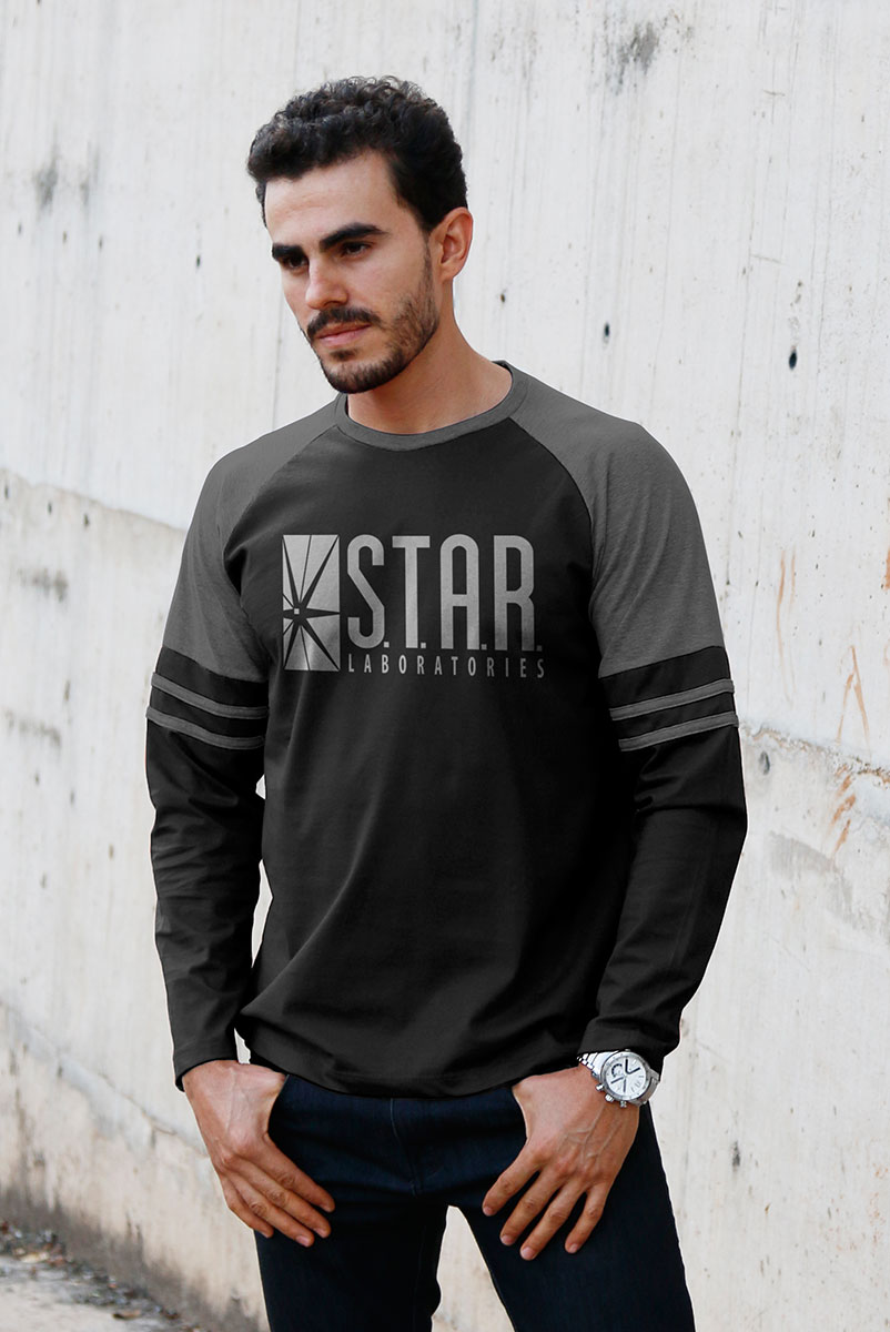 Blusa Manga Longa Masculina The Flash Serie STAR Laboratories