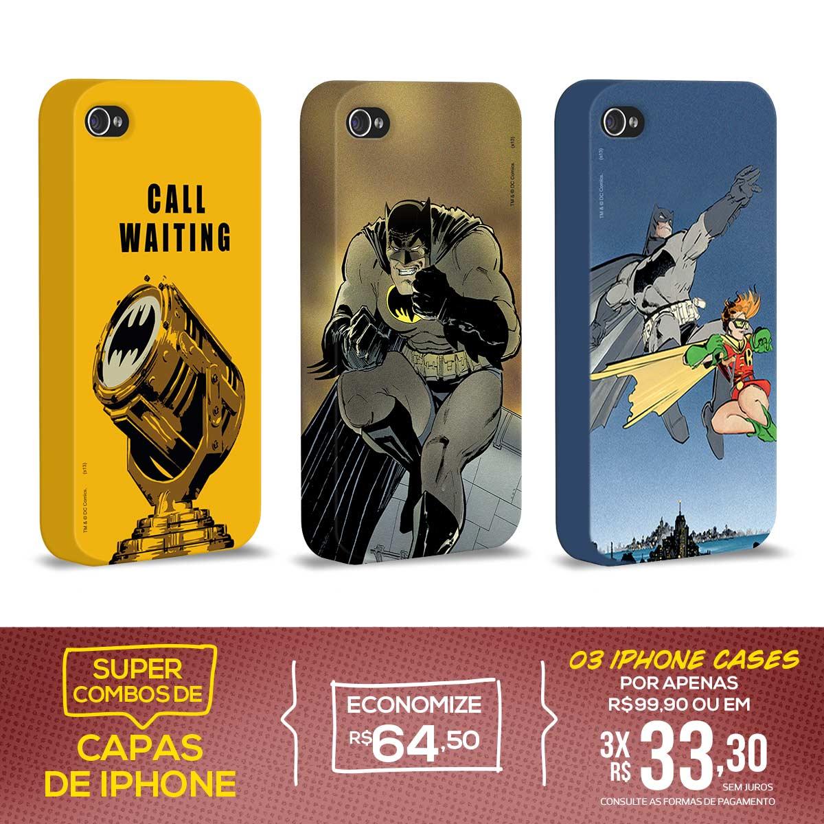 Kit Com 3 Capas de iPhone 4/4S Batman - Graphics