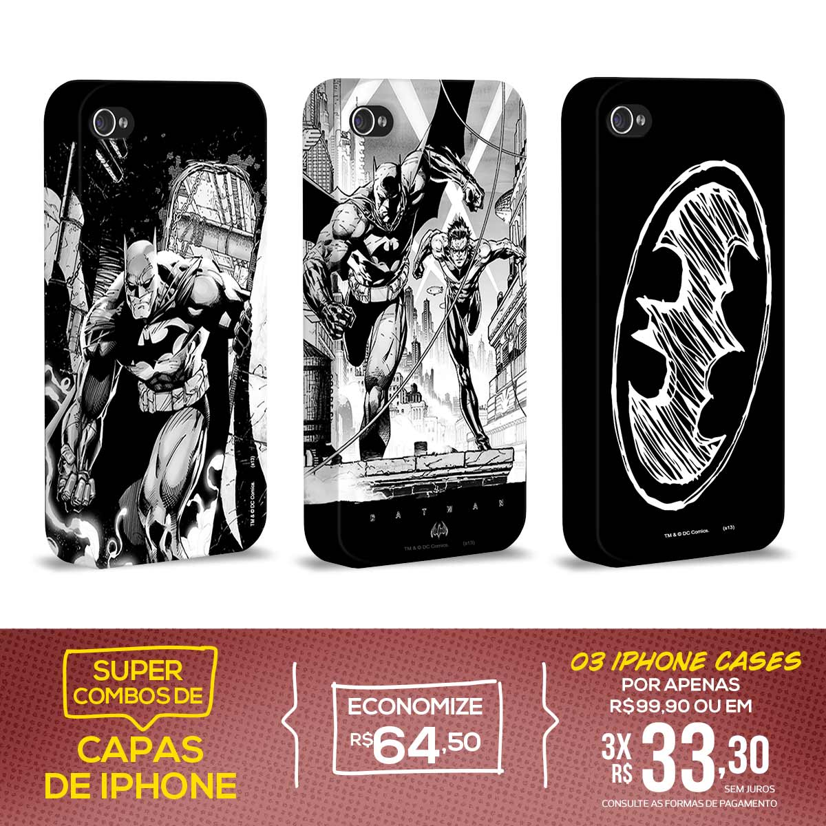 Kit Com 3 Capas de iPhone 4/4S Batman - Tracing