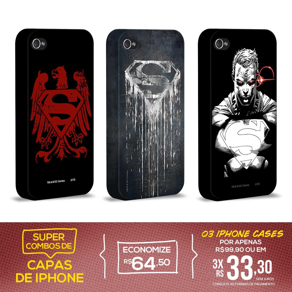Kit Com 3 Capas de iPhone 4/4S Superman - Classic