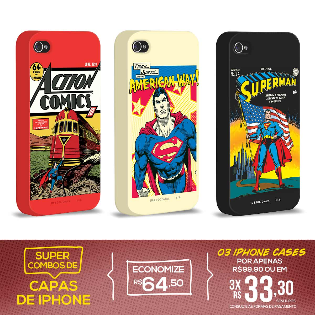 Kit Com 3 Capas de iPhone 4/4S Superman - Originals