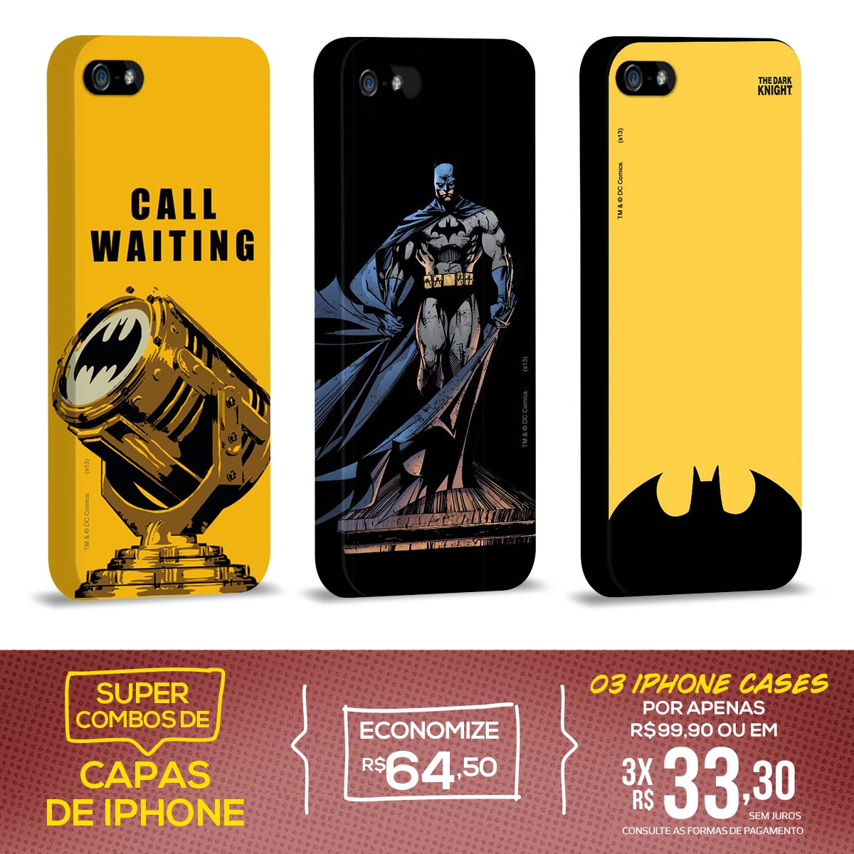 Kit Com 3 Capas de iPhone 5/5S Batman - Graphics