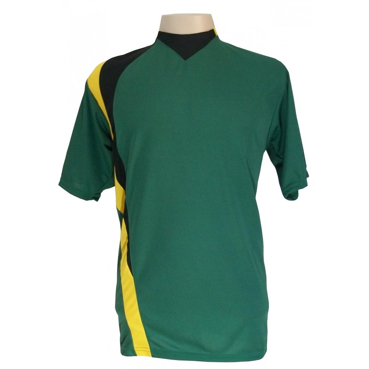 Jogo de Camisa com 14 pe�as modelo PSG Verde/Amarelo/Preto - Frete Gr�tis Brasil + Brindes