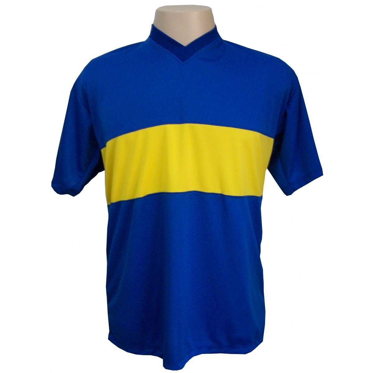 Jogo de Camisa modelo Boca Juniors 14 pe�as Royal/Amarelo - Frete Gr�tis + Brindes