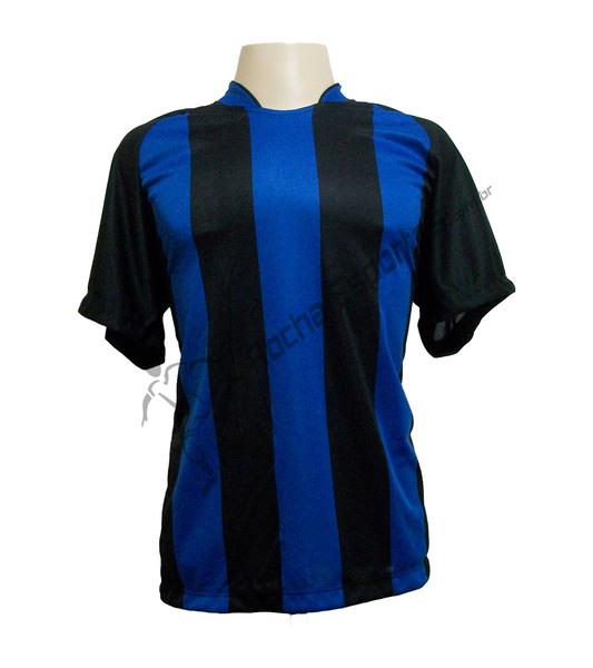 Fardamento - Jogo de Camisa modelo Milan com 18 Preto/Royal - Frete Gr�tis Brasil + Brindes
