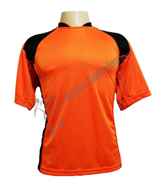 Jogo de Camisa modelo Su�cia com 14 Laranja/Preto - Frete Gr�tis Brasil + Brindes