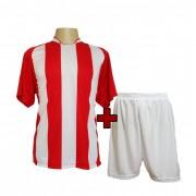 Fardamento - Jogo de Camisa modelo Milan Vermelho/Branco + Cal��o Branco com 12 pe�as - PlayFair- Frete Gr�tis Brasil + Brindes