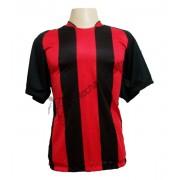 Fardamento - Jogo de Camisa modelo Milan com 18 Preto/Vermelho - PlayFair - Frete Gr�tis Brasil + Brindes