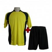 Uniforme Esportivo - Jogo de Camisa modelo Su�cia + Cal��o com 14 Amarelo/Preto - PlayFair - Frete Gr�tis Brasil + Brindes