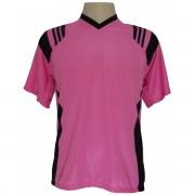 Jogo de Camisa modelo Roma com 12 pe�as Rosa Pink/Preto - Frete Gr�tis Brasil + Brindes