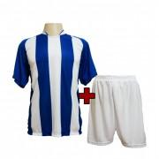 Fardamento - Jogo de Camisa modelo Milan + Cal��o com 12 Royal/Branco - PlayFair - Frete Gr�tis Brasil + Brindes