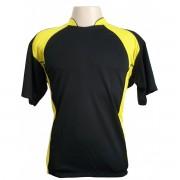Uniforme Esportivo - Jogo de Camisa modelo Su�cia com 14 pe�as Preto/Amarelo + 1 Camisa de Goleiro - Frete Gr�tis Brasil + Brindes