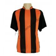 Fardamento - Jogo de Camisa modelo Milan com 18 Preto/Laranja - PlayFair - Frete Gr�tis Brasil + Brindes