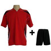 Fardamento Completo modelo M�naco Vermelho/Preto/Branco 12+1 (12 camisas + 12 cal��es + 13 pares de mei�es + 1 conjunto de goleiro) - Frete Gr�tis Brasil + Brindes