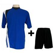 Uniforme Esportivo - Jogo de Camisa modelo PSG 14 pe�as Royal/Preto/Branco + Cal��o Preto - Frete Gr�tis Brasil + Brindes