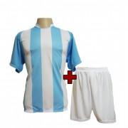 Fardamento - Jogo de Camisa Milan + Cal��o com 12 Celeste/Branco - PlayFair - Frete Gr�tis Brasil + Brindes