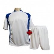 Uniforme Esportivo - Jogo de Camisa Su�cia + Cal��o com 14 Branco/Royal - PlayFair - Frete Gr�tis Brasil + Brindes
