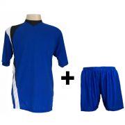 Uniforme Esportivo Completo modelo PSG Azul Royal/Preto/Branco 14+1 (14 camisas + 14 cal��es + 15 pares de mei�es + 1 conjunto de goleiro) - Frete Gr�tis Brasil + Brindes