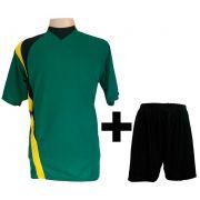 Fardamento Completo modelo PSG Verde/Amarelo/Preto 14+1 (14 camisas + 14 cal��es + 15 pares de mei�es + 1 conjunto de goleiro) - Frete Gr�tis Brasil + Brindes