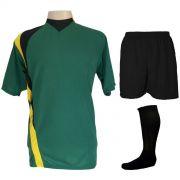 Uniforme Esportivo Completo modelo PSG 14+1 (14 camisas Verde Preto Amarelo 7d4c8a35ed418