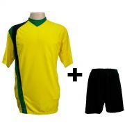 Uniforme Completo modelo PSG Amarelo/Preto/Verde 14+1 (14 camisas + 14 cal��es + 15 pares de mei�es + 1 conjunto de goleiro) - Frete Gr�tis Brasil + Brindes